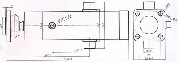 Гидроцилиндр 55102-8603010-01 нового образца (ЦГС.16.Ц.Ф.56.75.95-955)
